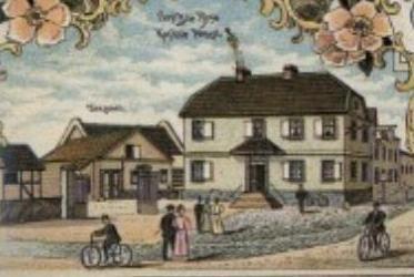 Historische Zeichnung eines Hauses