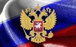 Bandera y escudo de Rusia