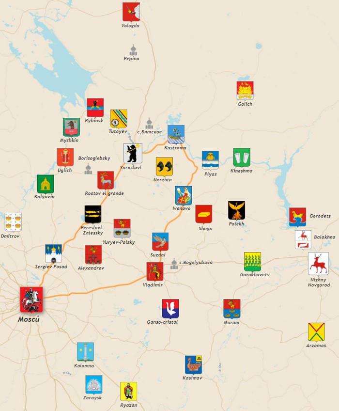 Mapa del Anillo de Oro de Rusia