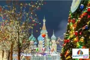 Plaza roja en invierno año nuevo