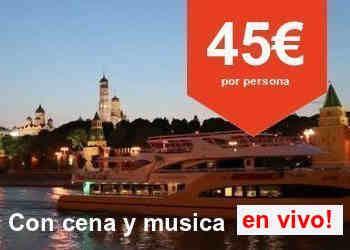 Paseo en barco con cena y musica en vivo por el rio de Moscú