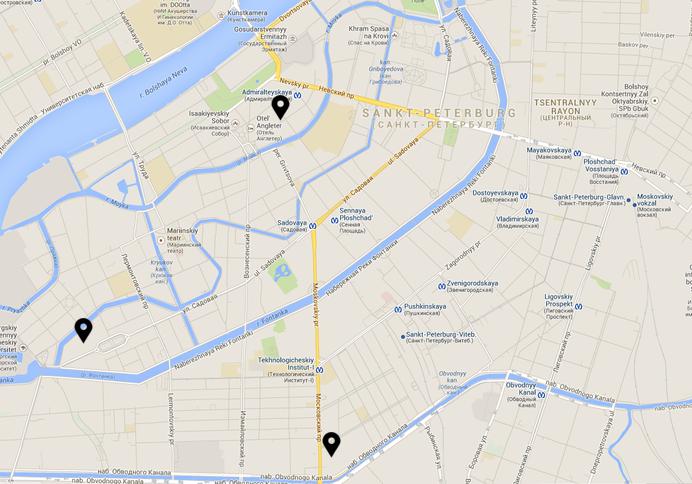 Mapa de hoteles en San Petersburgo