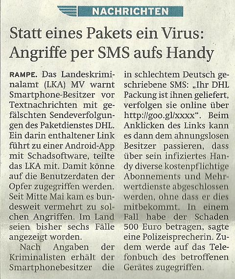 Angriffe per SMS auf`s Handy
