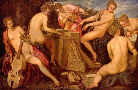 Entstanden: 2. Hälfte 16. Jh. vom Maler Tintoretto Musizierende Frauen