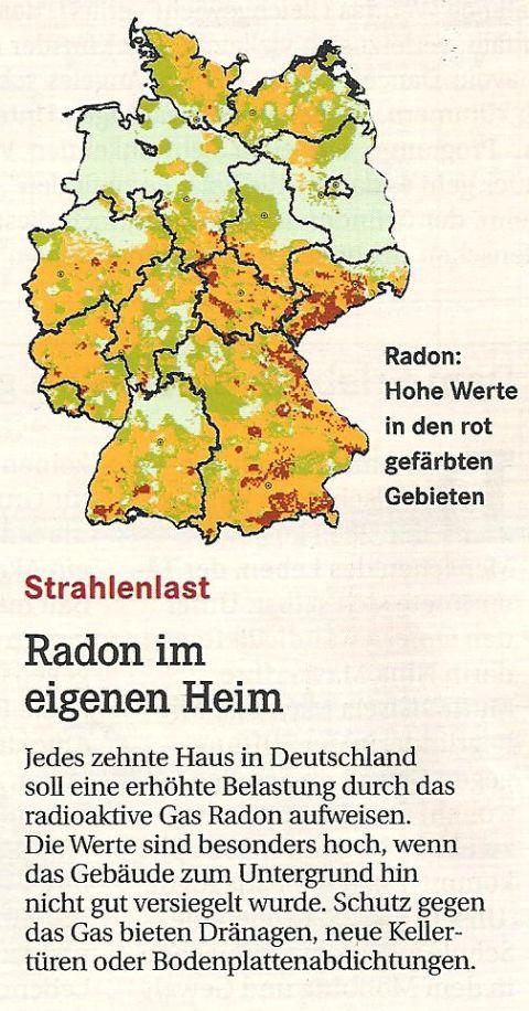 Das Gas Radon in der BRD lt. Ansicht.