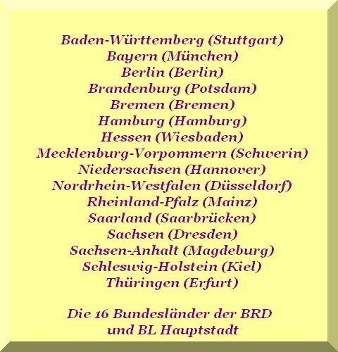 16 Bundesländer der BRD