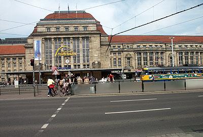 Haupteingang zum Hauptbahnhof Leipzig.