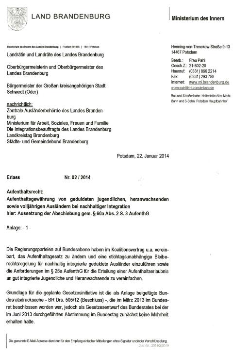 Erlass Nr. 02/2014 aus dem  Ministerium des Innern Brandenburg
