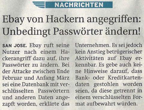 Mai 2014 Nachrichten eBay von Hackern angegriffen