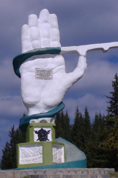 Denkmal auf dem Ciumirna-Pass