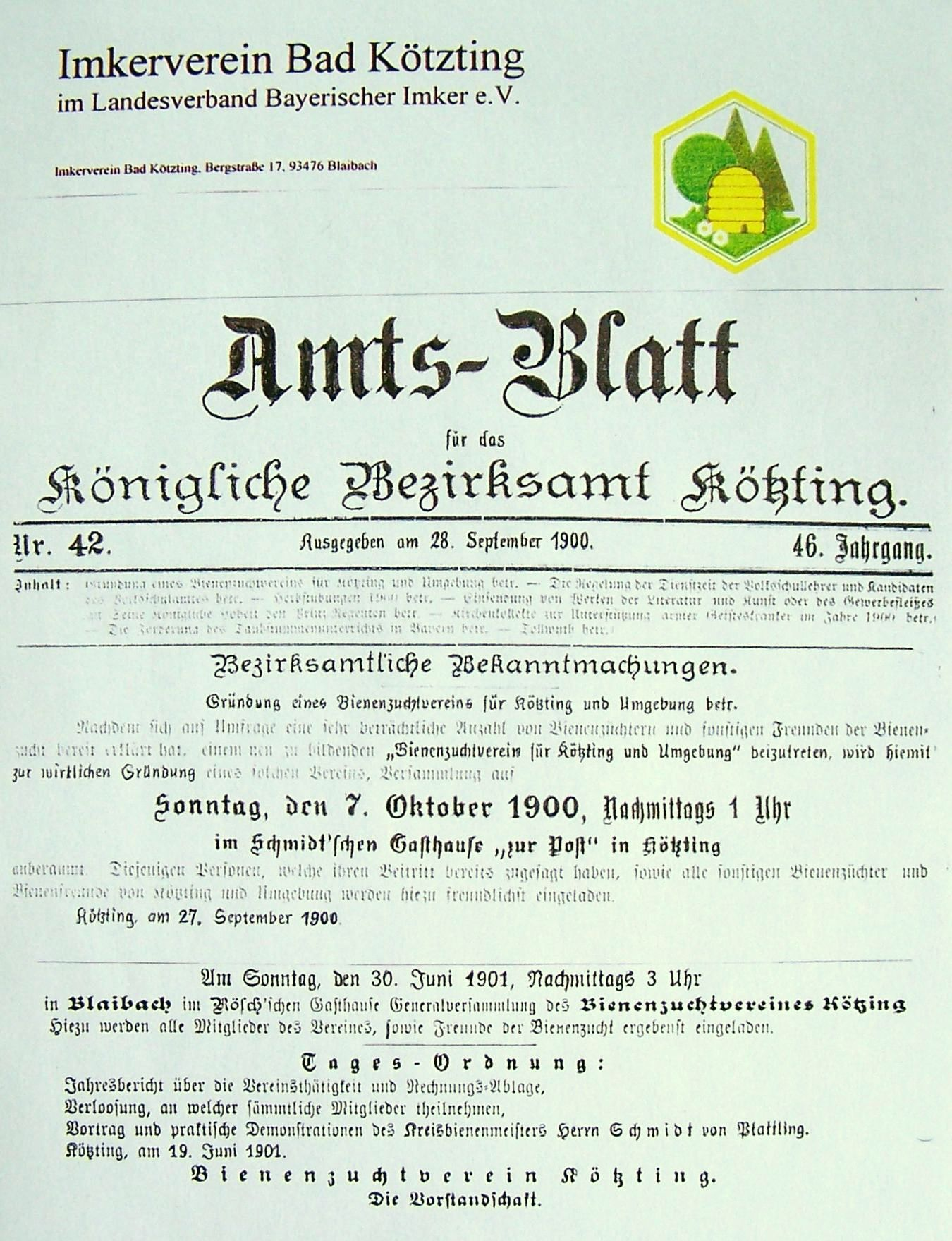 Amtsblatt zur Gründung des Vereins