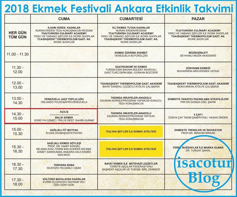 Ekmek Festivali Ankara Etkinlik Takvimi