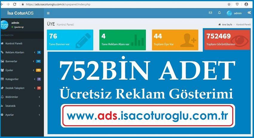 isacotur ADS 752Bin Adet Ücretsiz Reklam Gösterdi