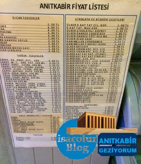 Anıtkabir Kafeterya Fiyat listesi