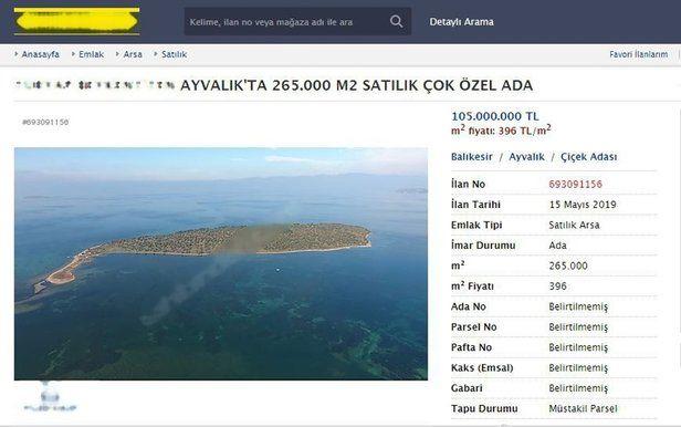 Ayvalık Çiçek Adasının Satılık Fiyatı
