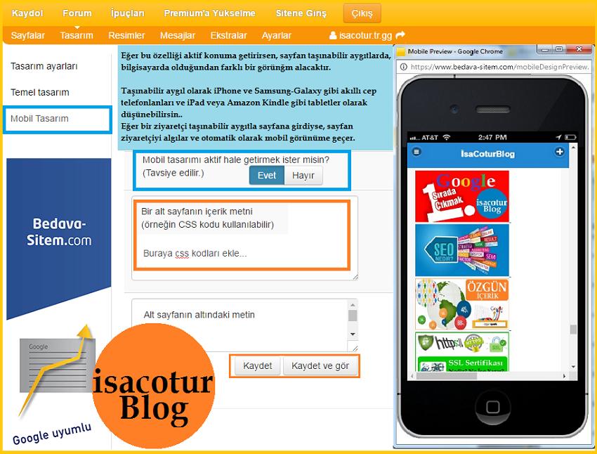 Bedava Sitem Kullanıcılarına Mobil Site Desteği