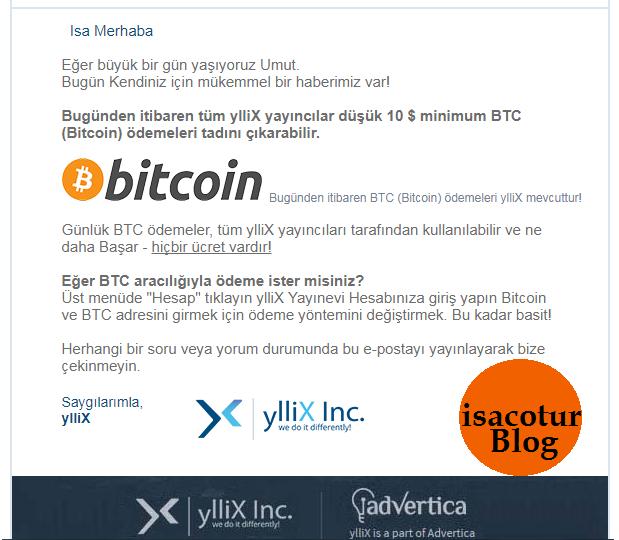 Yllix Media Reklam Bitcoin Bilgilendirme Maili