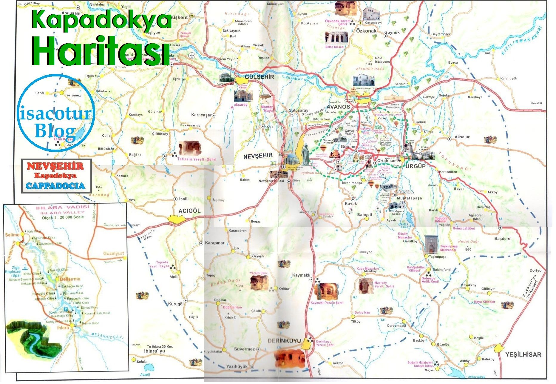 Kapadokya Turizm Haritası Cappadocia Map