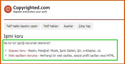 Copyrighted.com Telif Hakkı Eklemek
