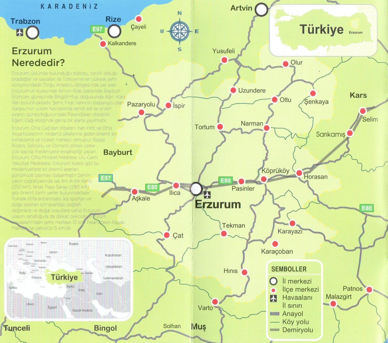 Erzurum Coğrafi Haritası