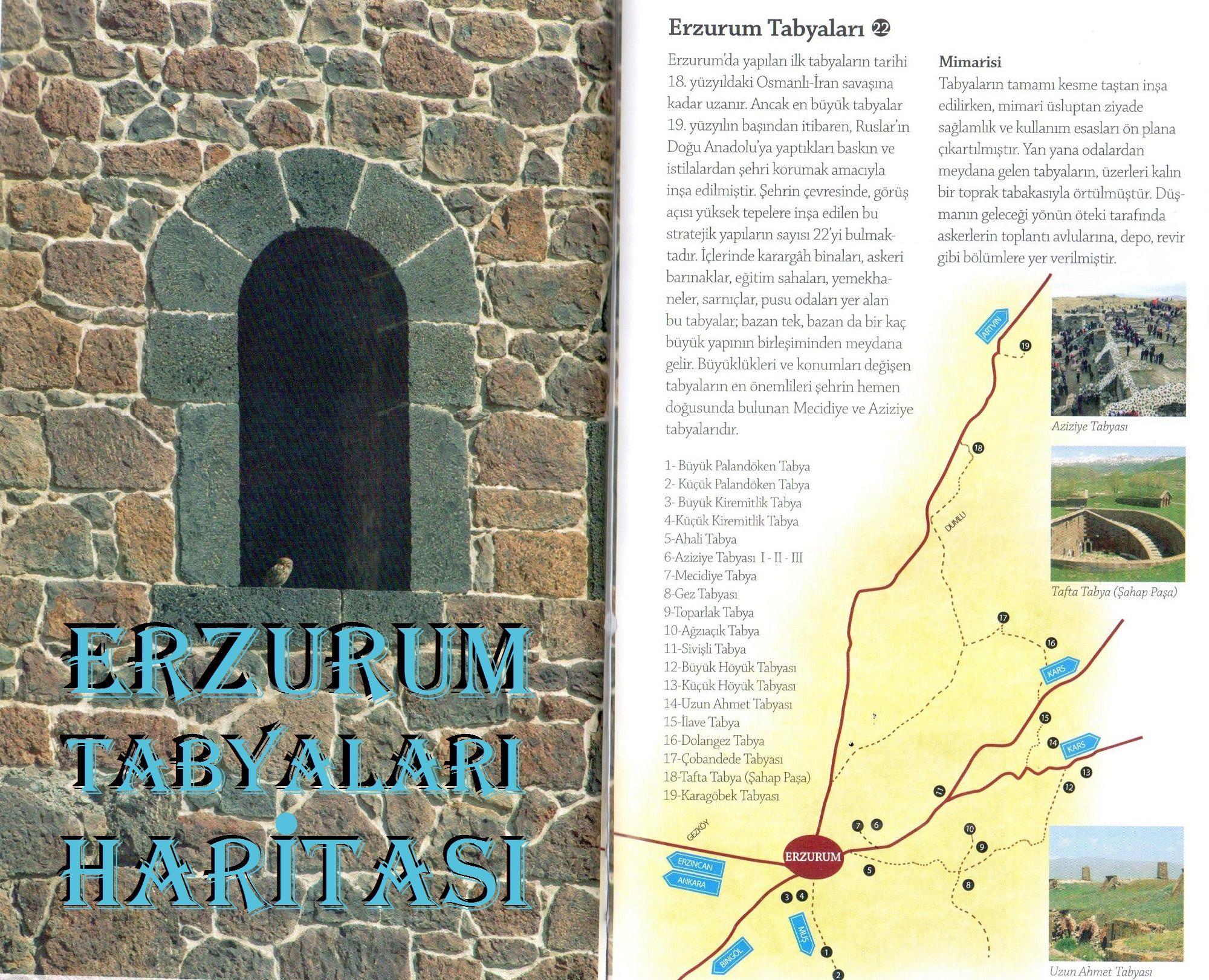 Erzurum Tabyaları Haritası