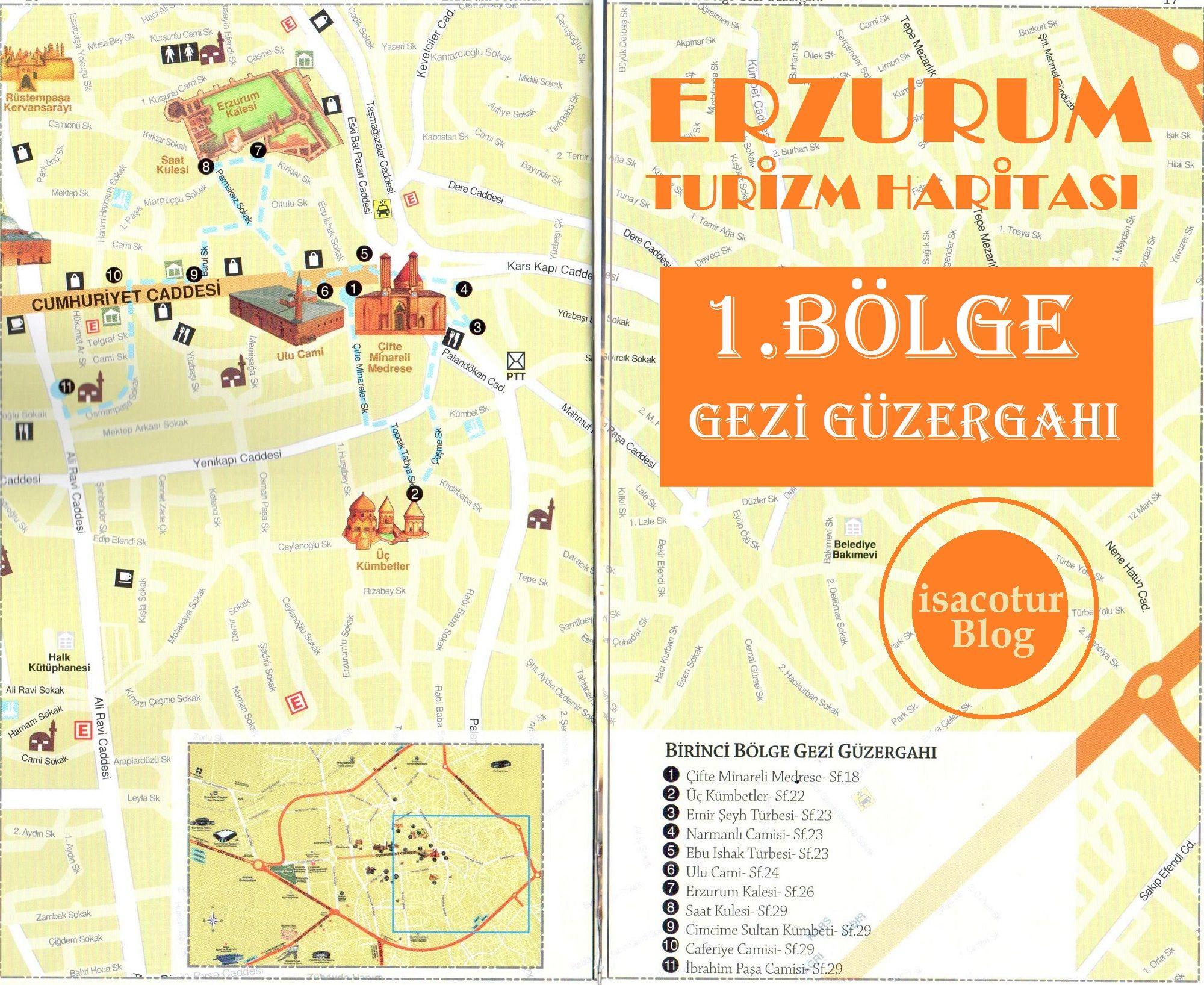 Erzurum Turizm Haritası 1.Bölge Gezi Güzergahı