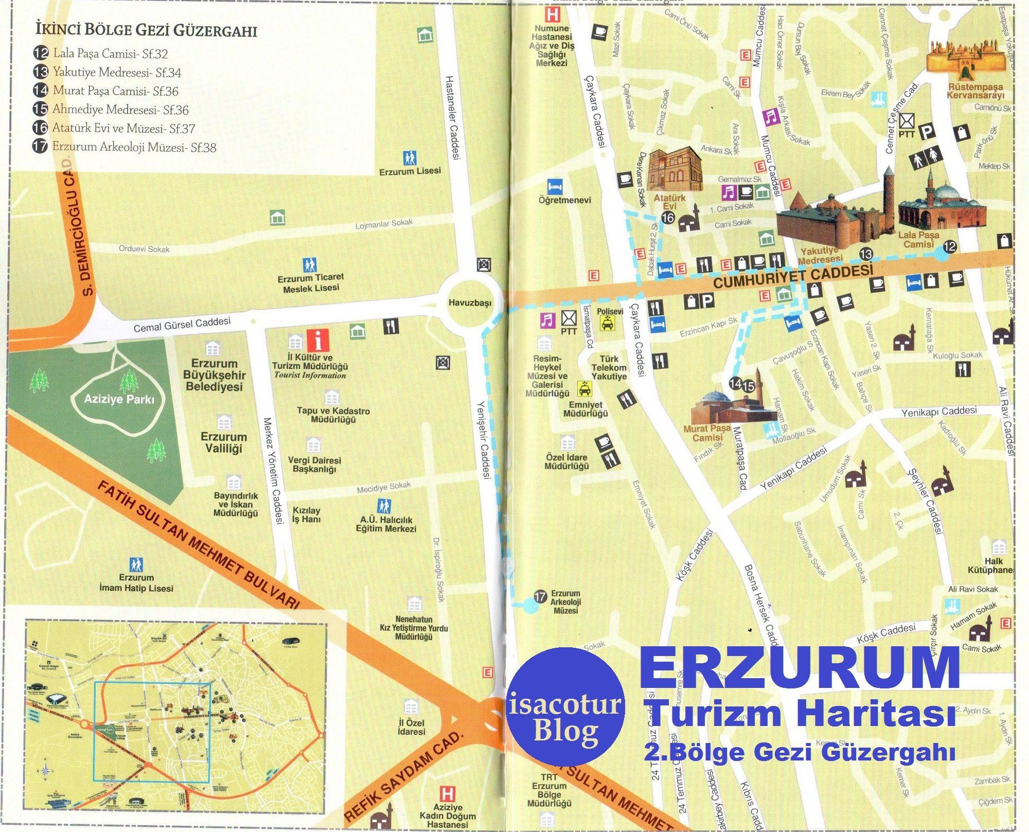 Erzurum Turizm Haritası 2.Bölge Gezi Güzergahı