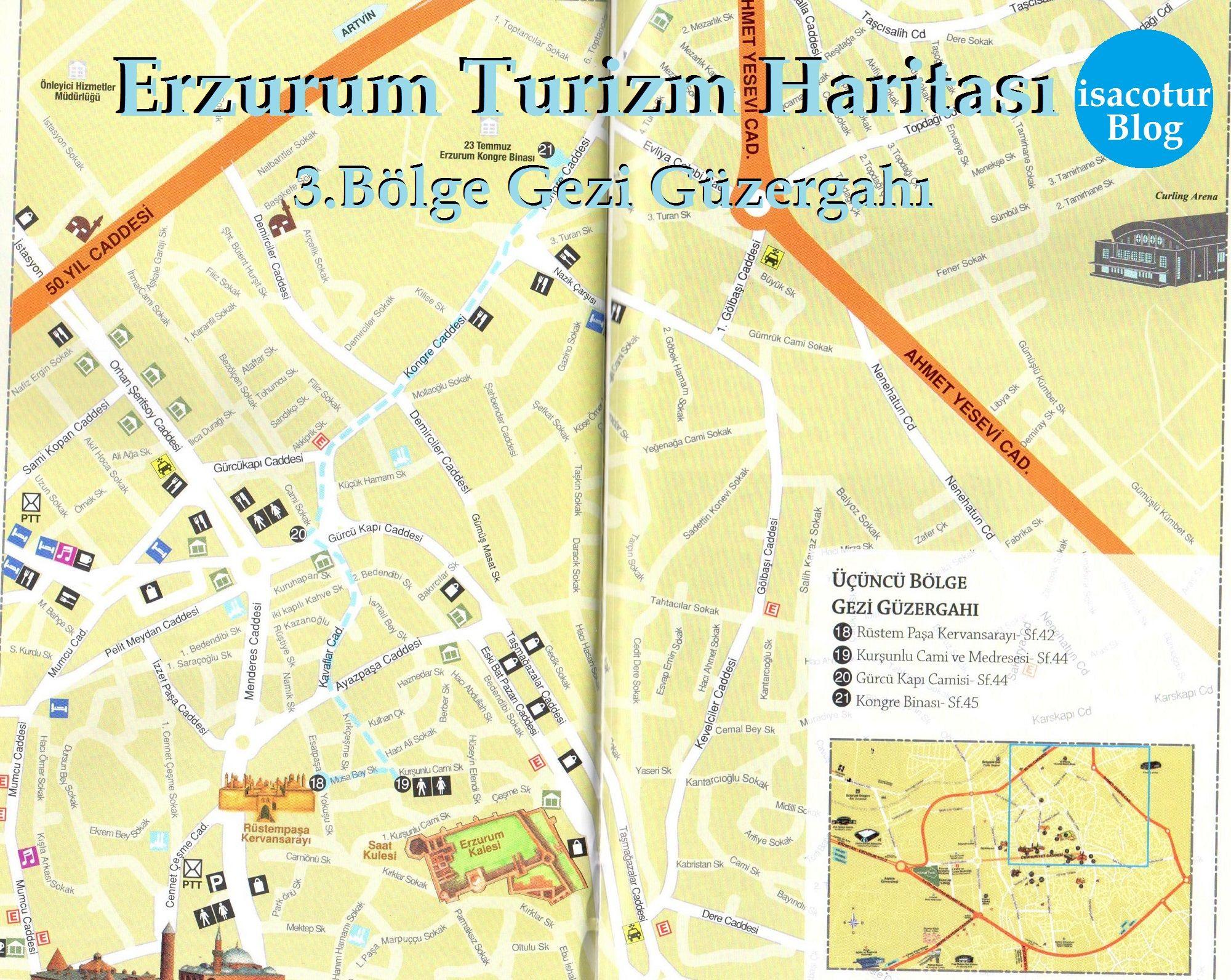 Erzurum Turizm Haritası 3.Bölge Gezi Güzergahı
