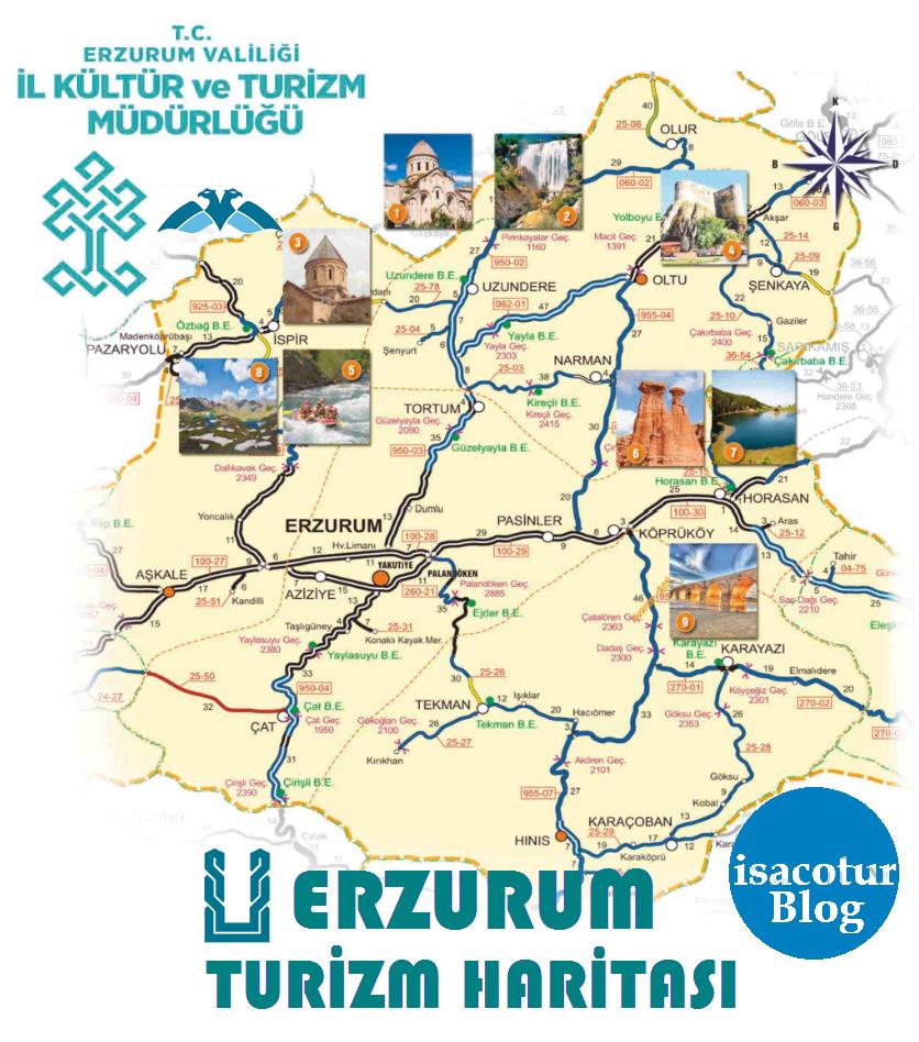 Erzurum Turizm Haritası Genel