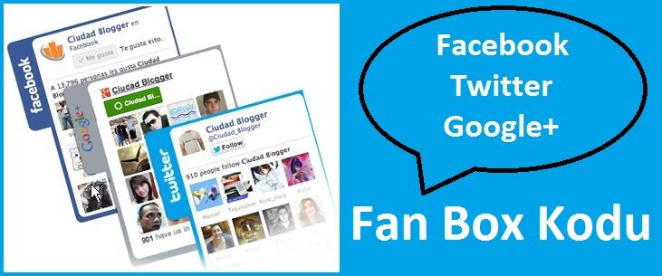 Facebook Twitter Google+ Fan Box Witget Kodu