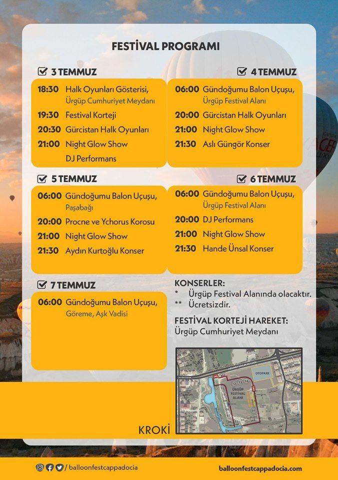Kapadokya Balon Festivali 2019 Etkinlik Proğramı