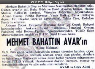 Banu Avar'ın Babası Mehmet Bahattin Avar