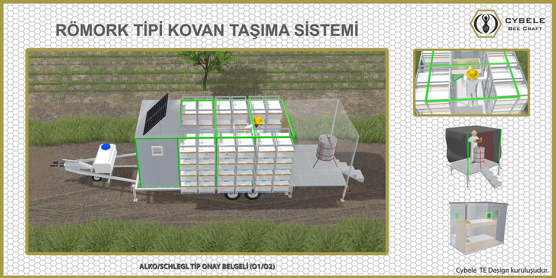 CYBELE Mobil Arıcılık römork tipi kovan taşıma Sistemi