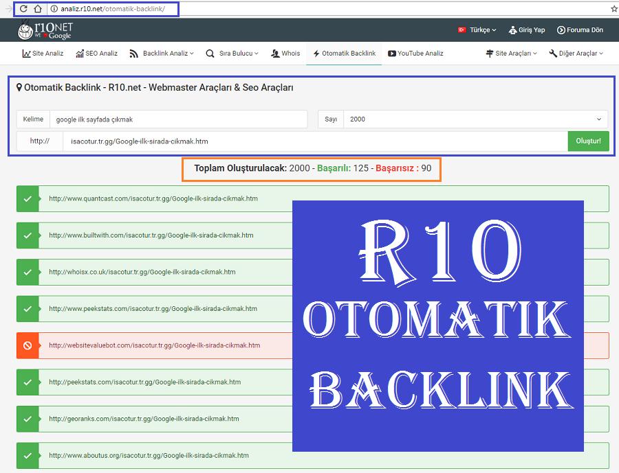 R10 Otomatik Backlink Oluşturma