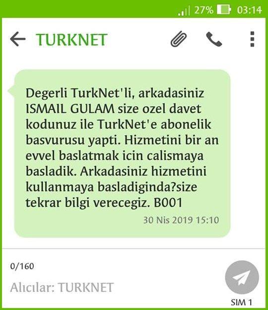 TürkNet Arkadaşını Getir Kampanyası davet kodu