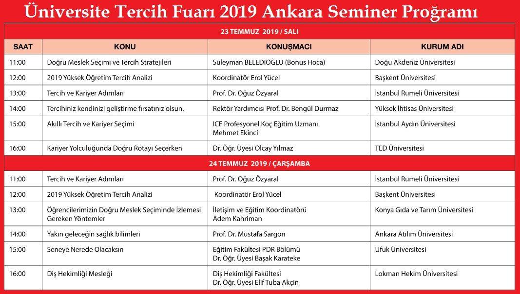 Üniversite Tercih Fuarı 2019 Ankara Seminer Proğramı