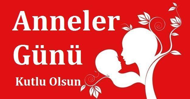 Kırmızı fonda Anneler Günü Kutlu Olsun Kartı