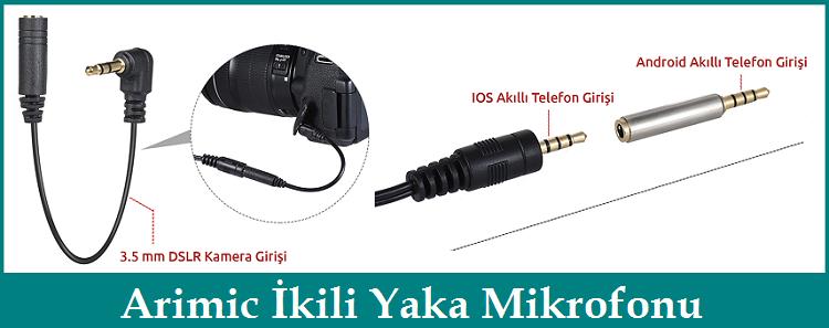 Arimic İkili Yaka Mikrofonu 3.5mm Dönüştürücü Jak