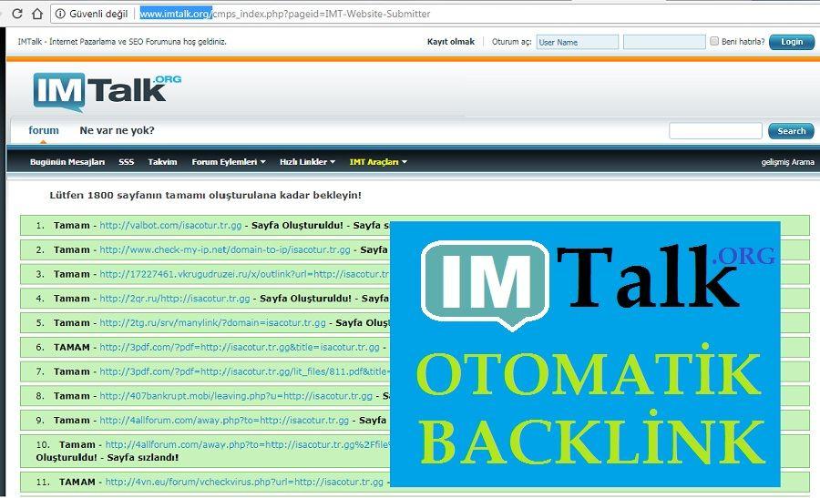 IMTalk.org Otomatik Backlink Oluşturmak