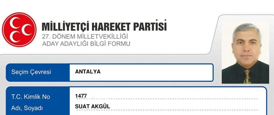 Dr.Suat AKGÜL MHP Antalya Milletvekili Aday Adayı Oldu
