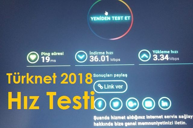 TürkNET İnternet Hız Testi 2018