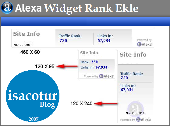 Websitene Alexa Rank Trafik Widget Kodu