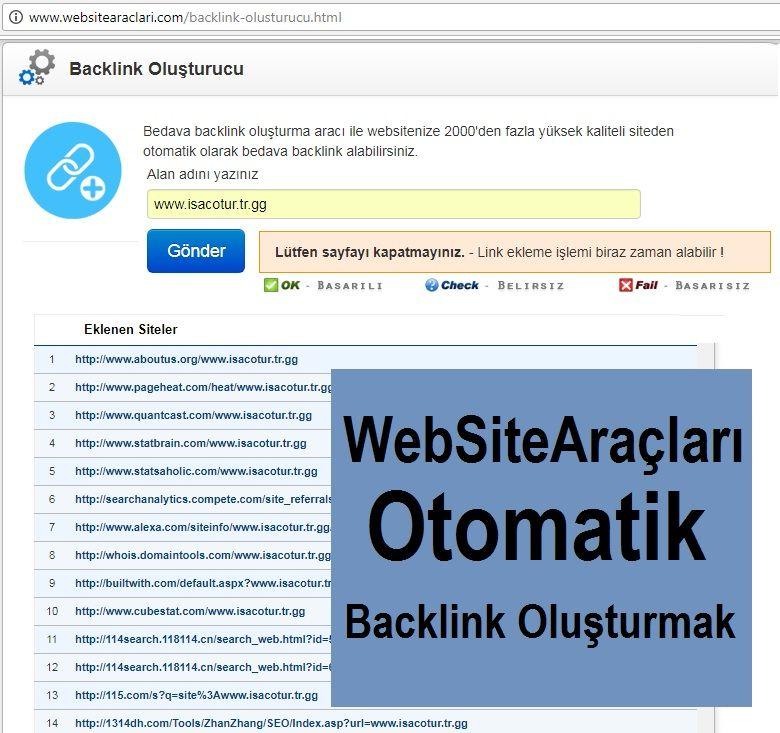 WebSiteAraçları Otomatik Backlink Oluşturmak