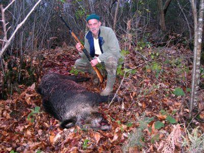 Kandıra da vurulan yaban domuzu ile 28.12.2008