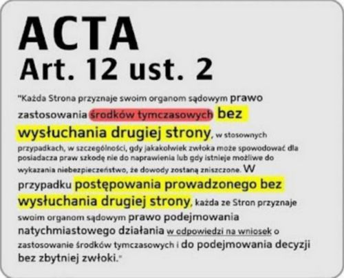 Co to jest ACTA? - Treść ACTA - Art. 12 ust. 2 - Niebezpieczeństwo - ACTA - Acti-Counterfeiting Trade Agreement