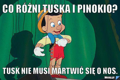 Co różni Tuska i Pinokio? - Tusk nie musi martwić się o nos.
