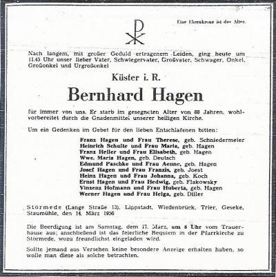Todesanzeige Bernhard Hagen