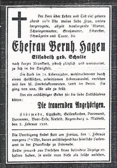 Todesanzeige Elisabeth Hagen geb. Schulte