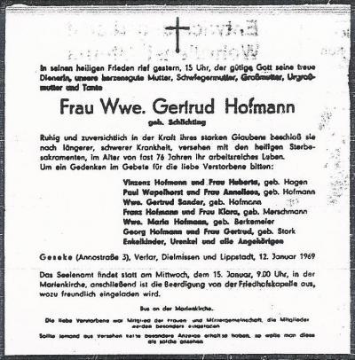 Todesanzeige Gertrud Hofmann geb. Schlichting