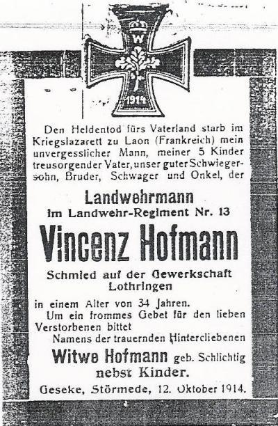 Todesanzeige Vinzenz Hofmann von 1914